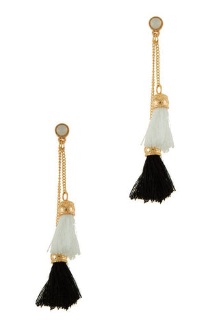 Baja Pom Pom Tassel Earrings - Blue