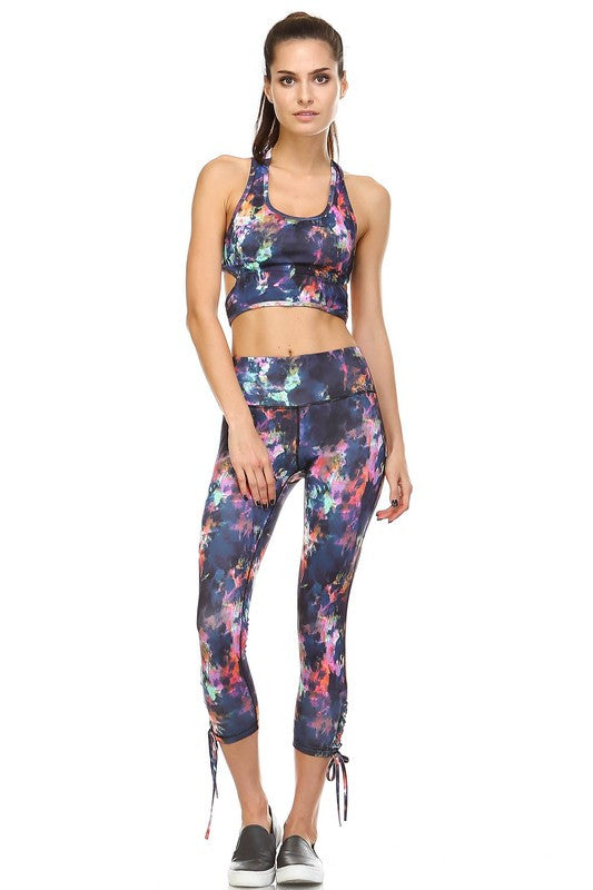 Otherworldly Ankle Tie Accent Leggings - Multi