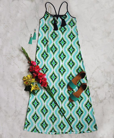 Cindy Print Maxi Dress - Turquoise + Multi - Daily Chic