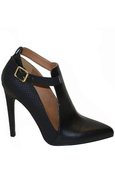 Virtue Snake Accent Pointed Toe Heels - Black - Daily Chic