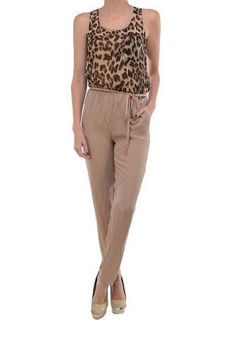 Kendall Leopard Jumpsuit- Tan + Multi - Daily Chic