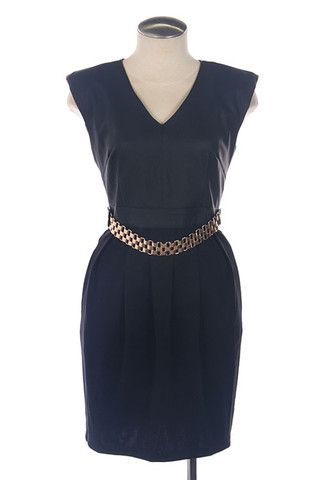 Sophia Black Leather Mini Dress- Gold Chain Accent - Daily Chic