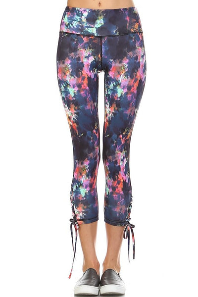 Otherworldly Ankle Tie Accent Leggings - Multi - Daily Chic