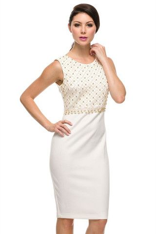 Pearl Portrait Bodycon Midi Dress - Ivory + Gold