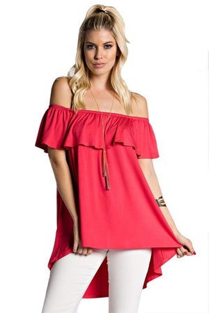 Oceanside Off the Shoulder Top - Coral - Daily Chic