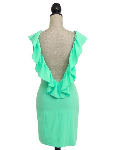 Melania Open Back Ruffle Dress- Mint