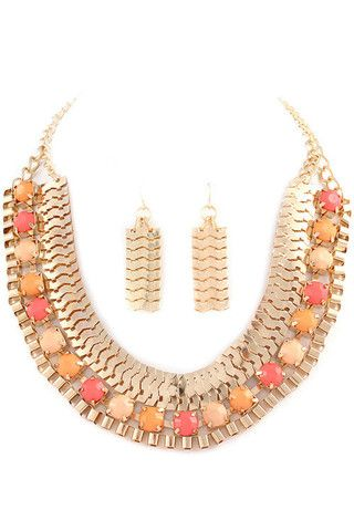 Egyptian Queen Necklace + Earring Set- Coral + Peach - Daily Chic
