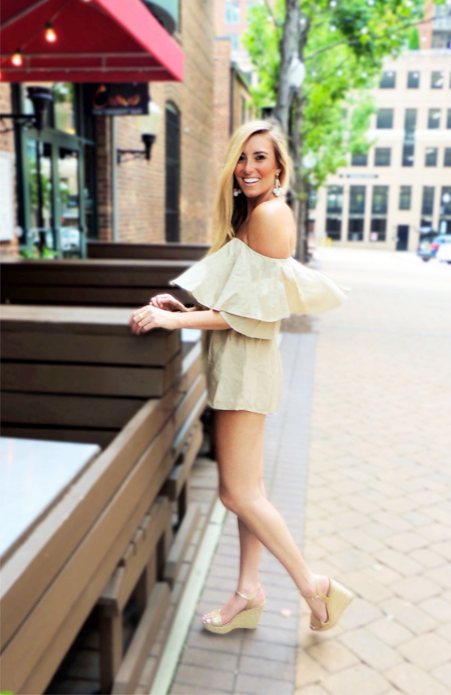 Giada Off the Shoulder Romper - Khaki - Daily Chic