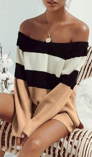 Sienna Off the Shoulder Colorblock Sweater - Multi
