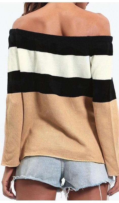 Sienna Off the Shoulder Colorblock Sweater - Multi - Daily Chic
