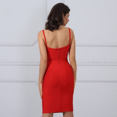 Mia Corset Accent Bandage Dress - White, Apricot Blush, or Red - Daily Chic