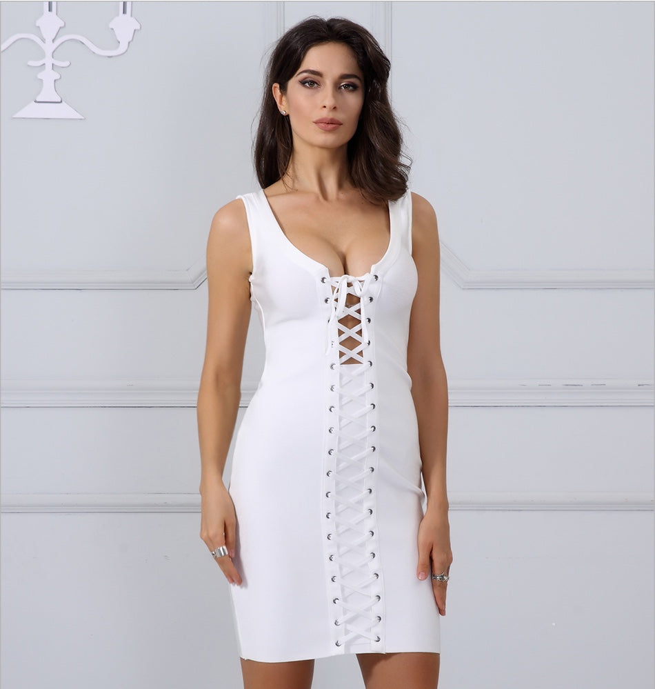 5e6d55345d Saint Lace Up Bodycon Dress - Apricot
