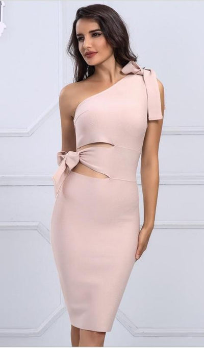 Heidi One Shoulder Bandage Dress - Apricot, Black, Blue, or Red - Daily Chic