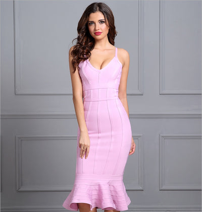 Eden Ruffle Accent Bandage Dress - Pink, Blue, Black or Red - Daily Chic