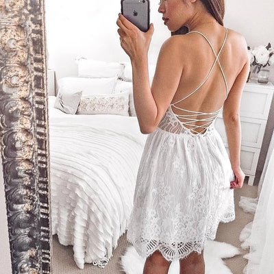 Macie Lace Up Back Lace Dress - White - Daily Chic