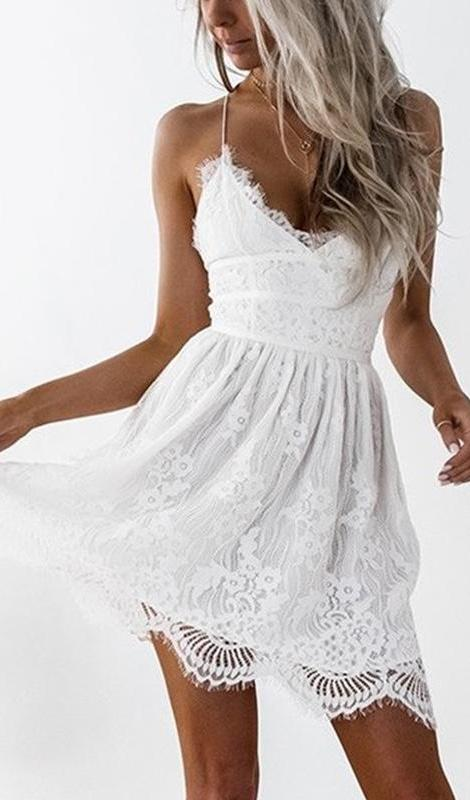 Macie Lace Up Back Lace Dress White Daily Chic