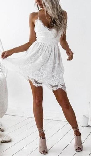 Macie Lace Up Back Lace Dress - White-Dresses-Daily Chic-Daily Chic
