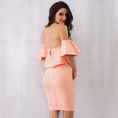 Molly Off the Shoulder Ruffle Sleeve Bandage Dress - Coral Pink - Daily Chic