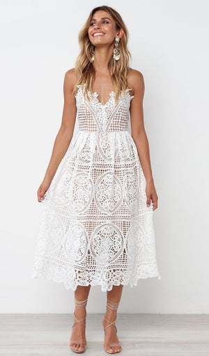 Gia Lace Dress - White + Nude - Daily Chic