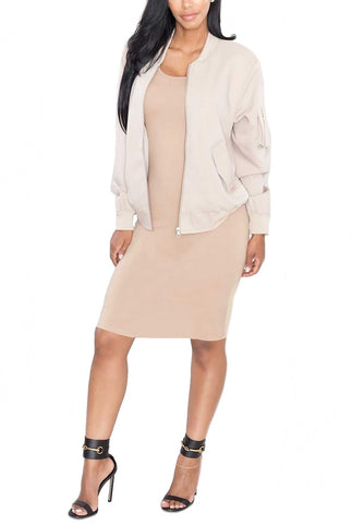 Bombshell Canvas Bomber Jacket - Beige - Daily Chic