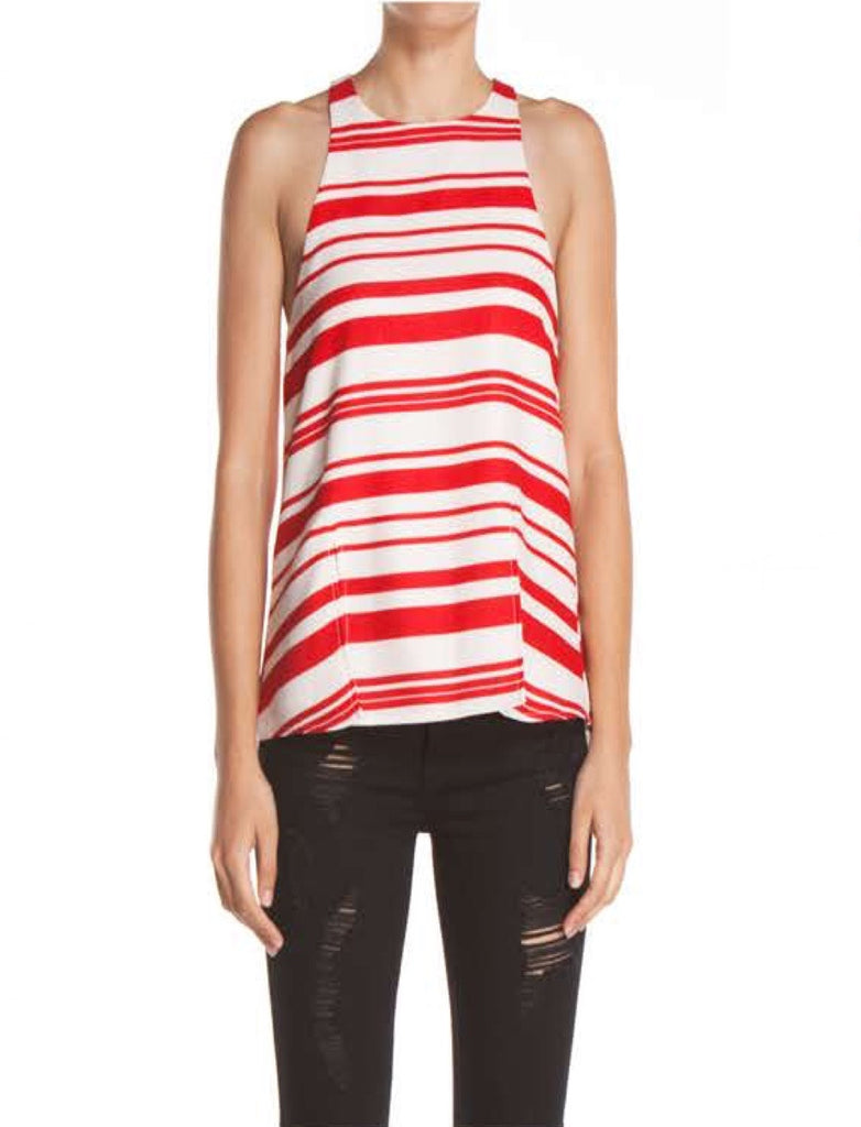 Marina Del Rey Linen Striped Top - Red + Natural