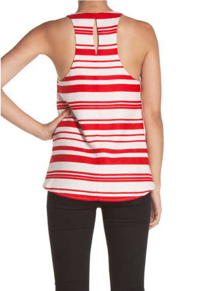 Marina Del Rey Linen Striped Top - Red + Natural - Daily Chic