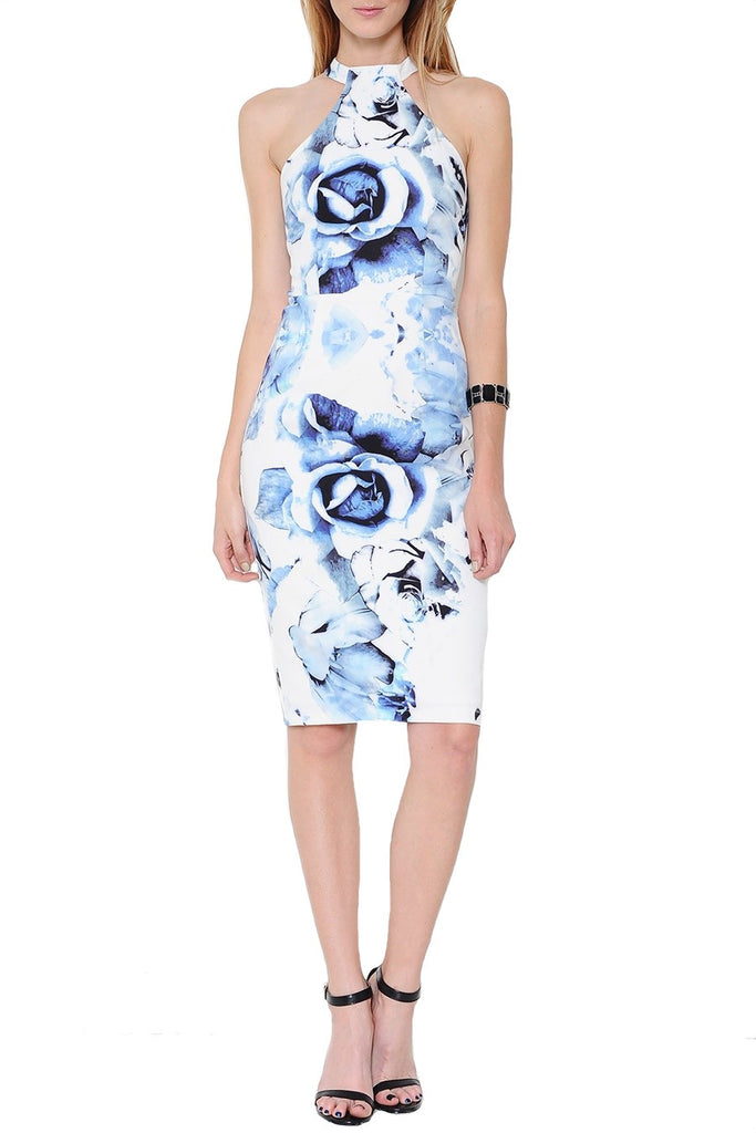 Something Blue Floral Print Midi Dress - White + Blue