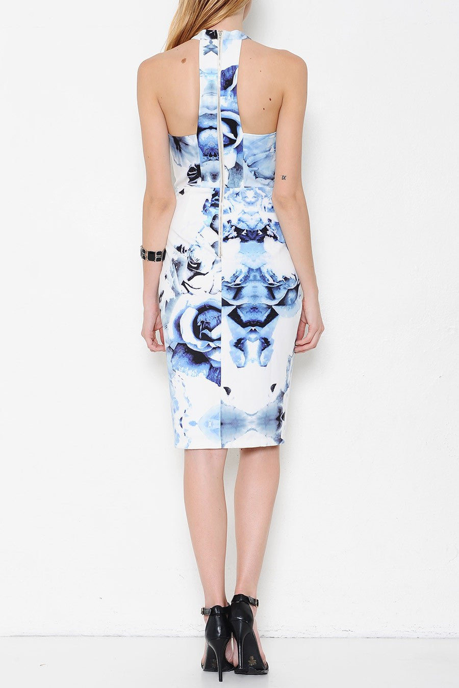 Something Blue Floral Print Midi Dress - White + Blue - Daily Chic