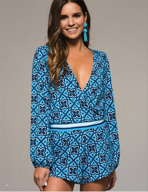Tilly Long Sleeve Print Romper - Blue + Multi - Daily Chic