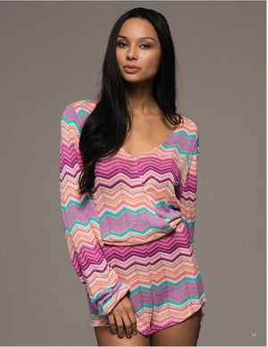 Capri Long Sleeve Knit Romper - Pink + Multi - Daily Chic