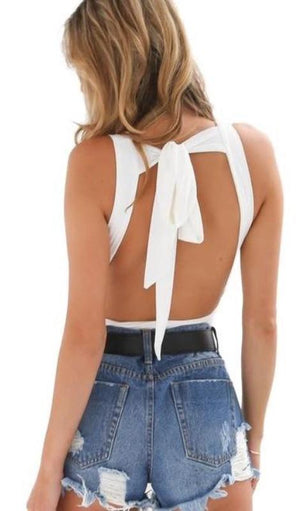 Alexa Tie Back Bodysuit - White or Black - Daily Chic