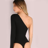 Romi One Shoulder Ribbed Long Sleeve Bodysuit - Black - Daily Chic