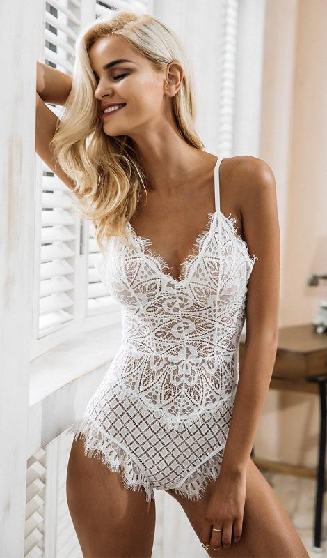 Joss Lace fringe Bodysuit - White - Daily Chic
