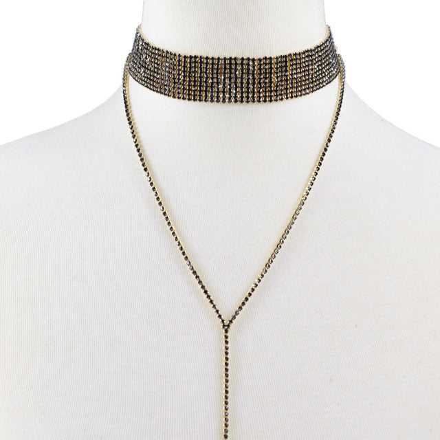 Jelena Crystal Drop & Choker Necklace - Gold, Silver or Black