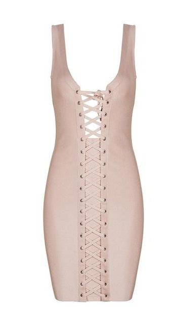 Saint Lace Up Bodycon Dress - Apricot, White, Black - Daily Chic