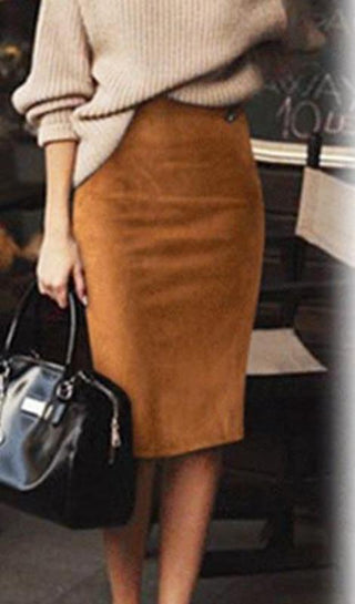 Carmen Faux Suede Midi Pencil Skirt - Camel, Beige or Black - Daily Chic