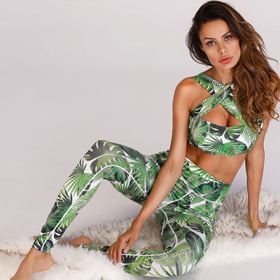 Tropics Crop Top + Leggings Workout Set - Print - Daily Chic
