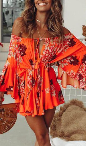 Honolulu Floral Print Front Slit Romper - Multi - Daily Chic
