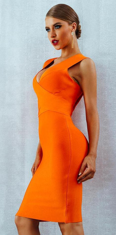 Jenson Bodycon Bandage Dress - Orange or Red - Daily Chic
