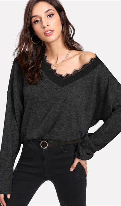 Raya Eyelash Lace Sweater Top - Black - Daily Chic