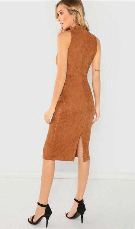 Sorrento Faux Suede Dress - Brown - Daily Chic