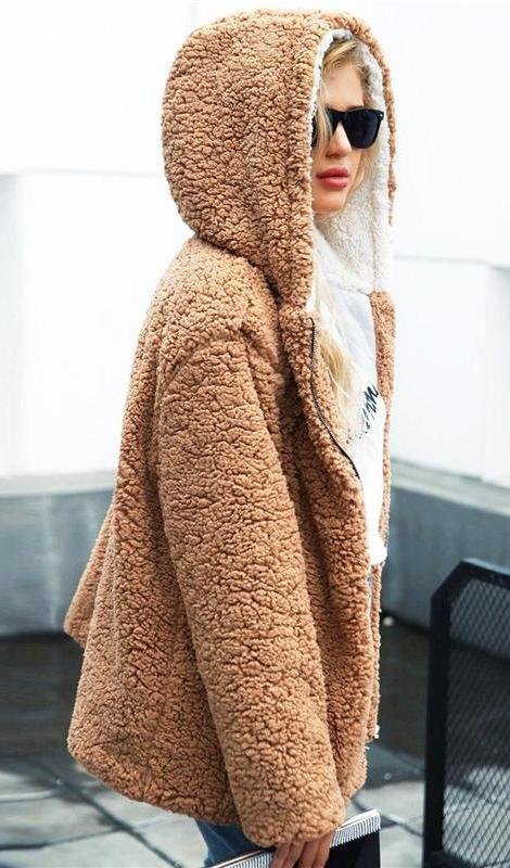 San Clemente Hooded Teddy Coat - Camel + White