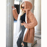 La Jolla Reversible Hooded Teddy Coat - Camel + White - Daily Chic