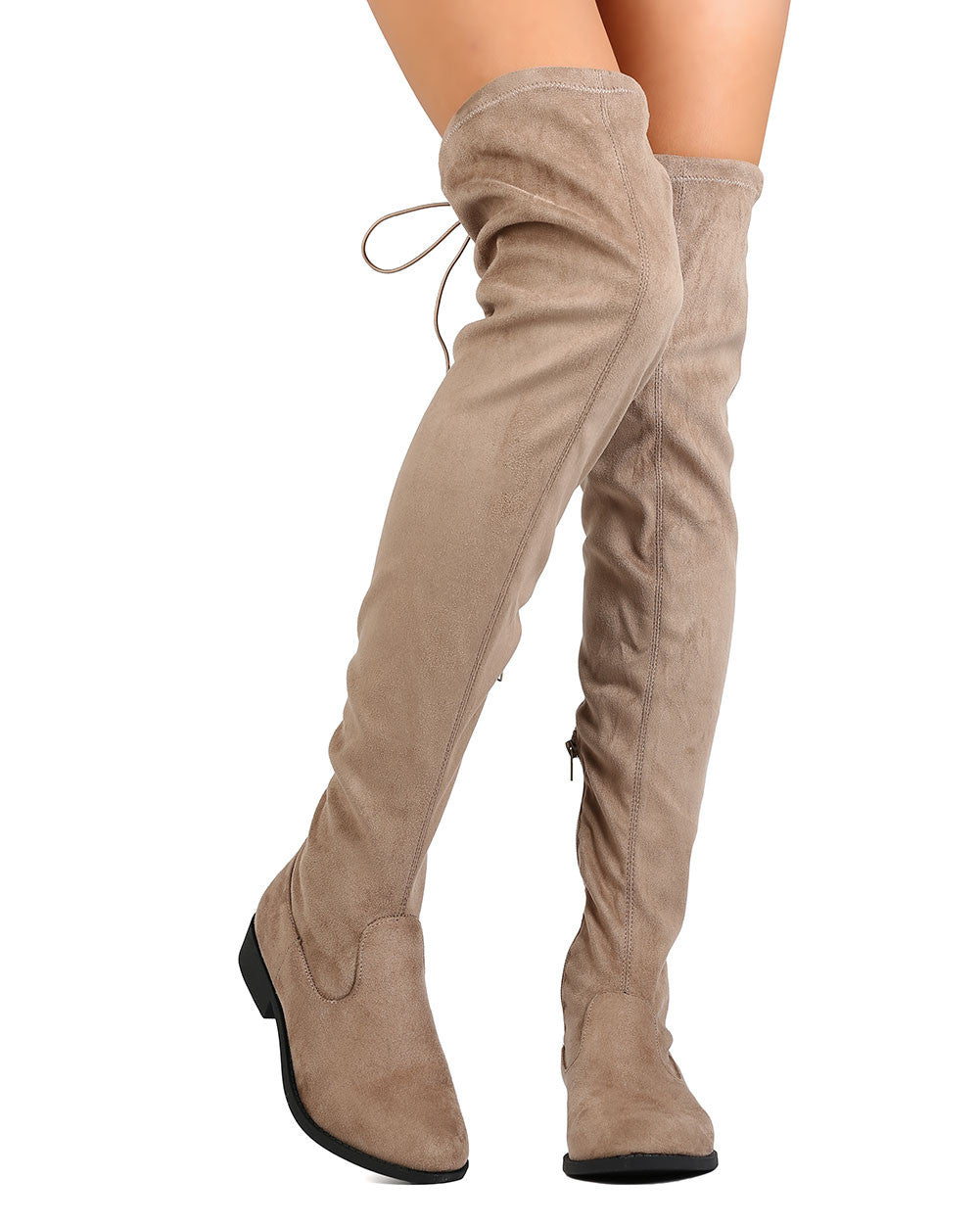 Vinci Over The Knee Suede Boots Taupe Daily Chic