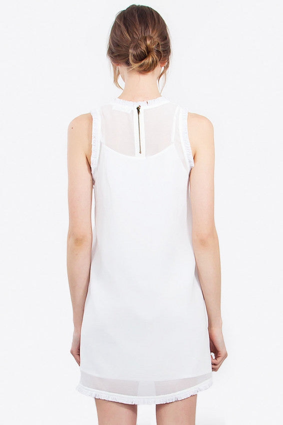 The Fray Fringe Trim Shift Dress - White
