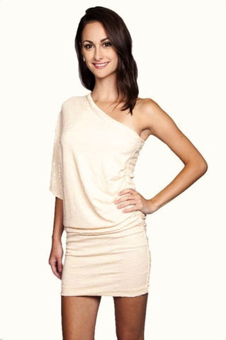 Steal the Show One Shoulder Sequin Dress - Blush - Daily Chic