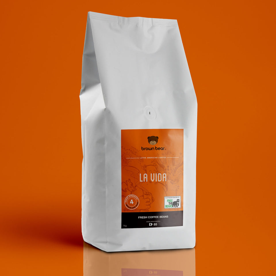 Brown Bear La Vida Espresso Coffee, Strength 4, Medium Dark Roast.