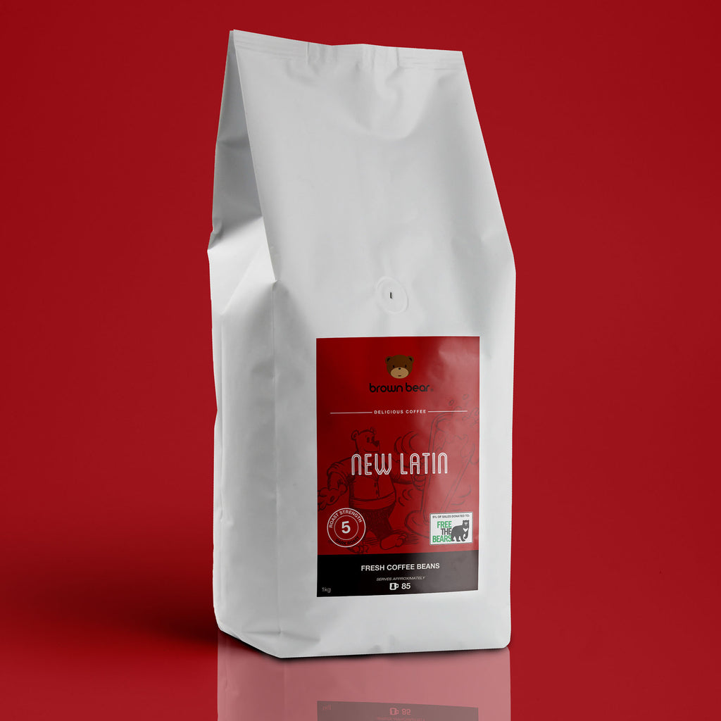 Brown Bear New Latin Espresso Coffee, Strength 5, Dark Roast.