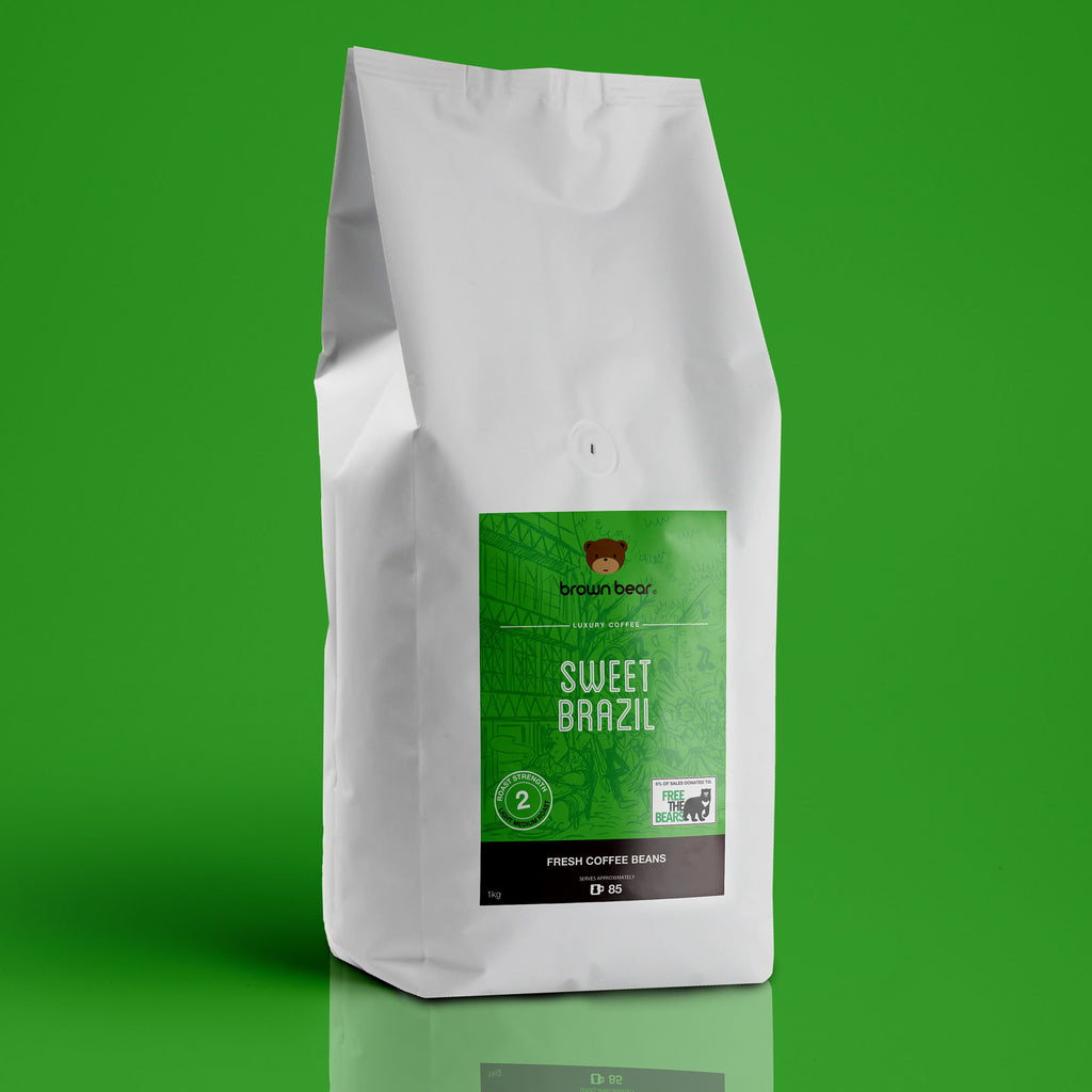 Brown Bear Sweet Brazil Brazilian Coffee, Strength 2, Medium Roast.