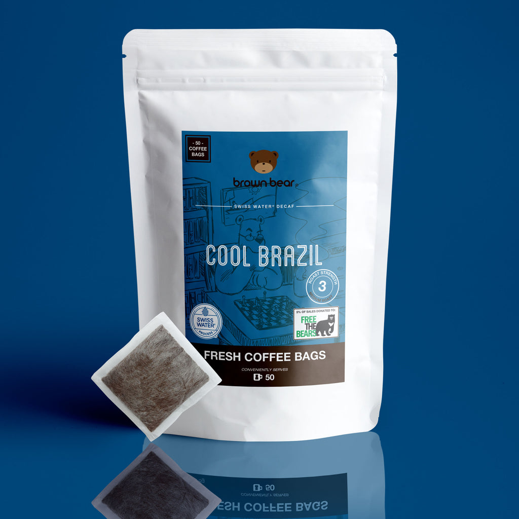 Cool Brazil Swiss Water Decaf Brew Bags, Strength 3, Medium Roast.